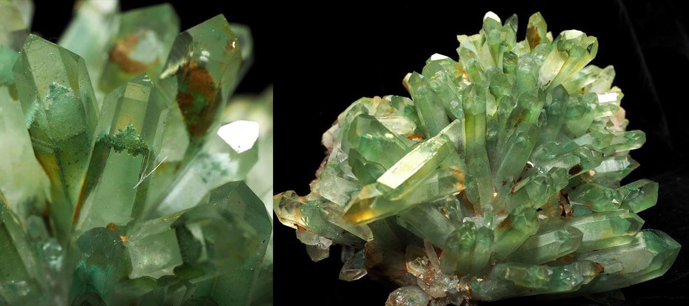 エメラルドグリーンファントム水晶クラスター