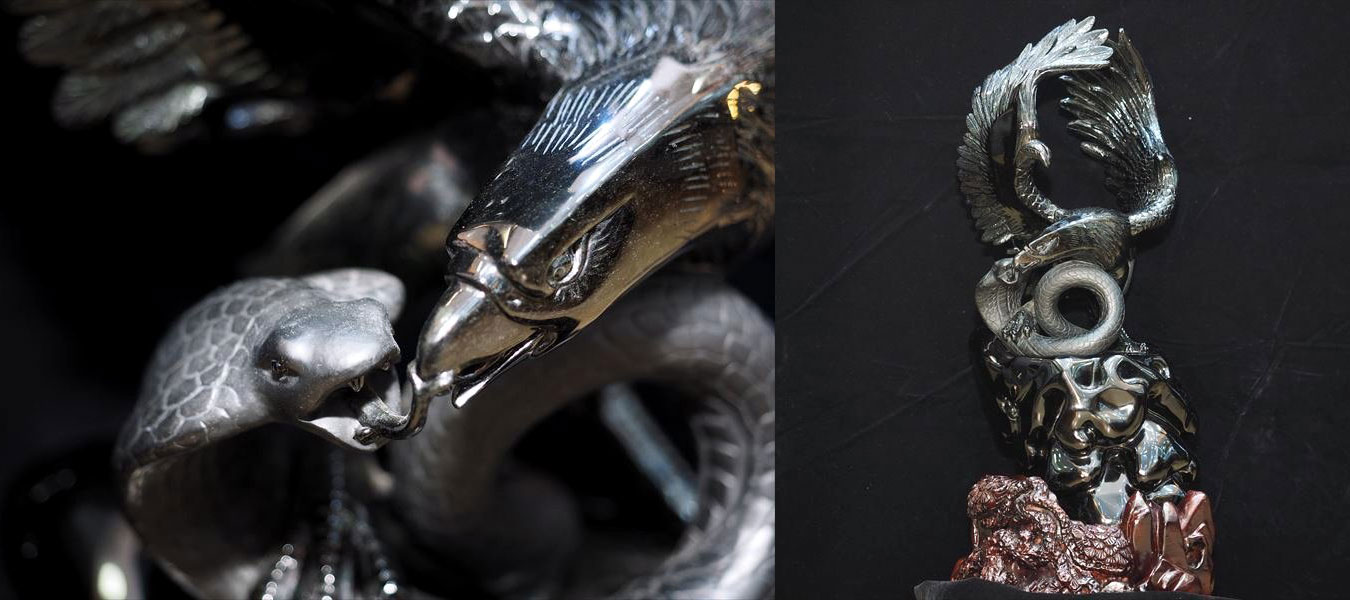 オブシディアン鷲&蛇彫り